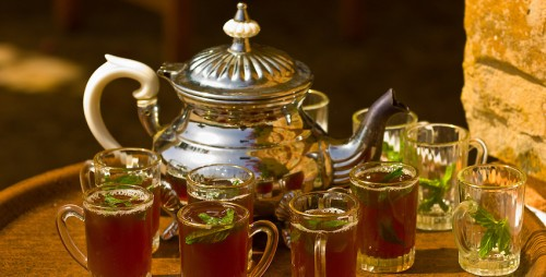 Serving mint tea at the Hotel Sangho Privilege, Tataouine, Tunisia